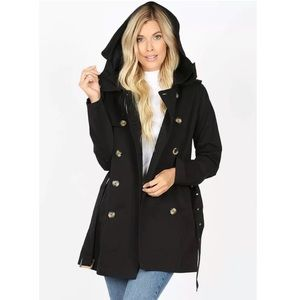 Black Double Breasted Trench Jacket